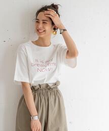 ドロップショルダーロゴプリントTシャツ