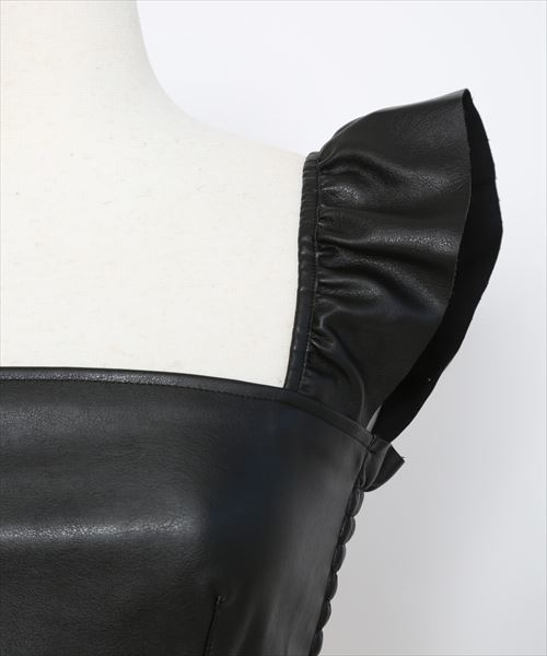 FICTION TOKYO/フィクショントーキョー/Fake leather frill tops