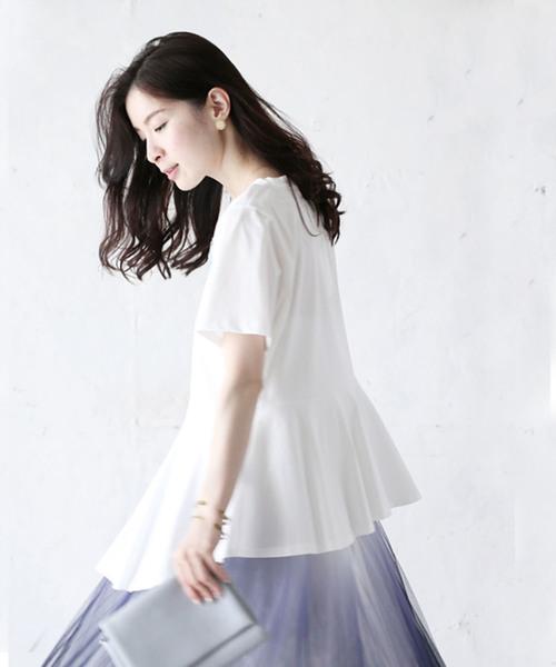 立体紫陽花のトップス。アシンメトリーな夏映えTシャツ