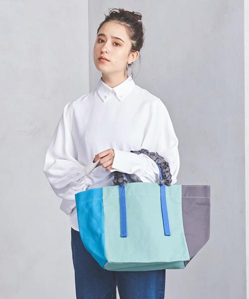 【別注】<LUDLOW(ラドロー)>キャンバス ブロック グレープハンドル バッグ