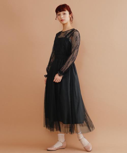0a9f028aee2bd merlot plus(メルロープリュス)のフラワーレースチュールワンピース7983(ドレス)