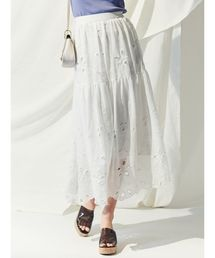 MERCURYDUO(マーキュリーデュオ)の楊柳刺繍フレアマキシスカート(スカート)