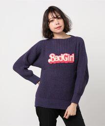 BRITISH WOOL/BAD GIRLワッペン プルオーバーパープル