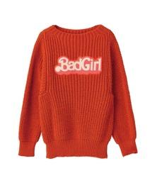 BRITISH WOOL/BAD GIRLワッペン プルオーバーオレンジ