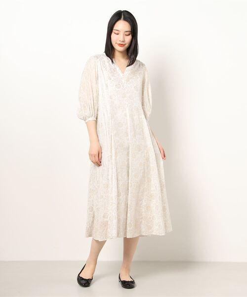【ne Quittez pas/ヌキテパ】GOLD FLOWER PRINT PANEL DRESS LCF 010411GJ2 OP