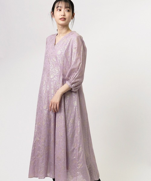 【ne Quittez pas/ヌキテパ】GOLD FLOWER PRINT PANEL DRESS  ゴールドフラワープリントパネルドレス