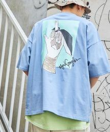 Mark Gonzales/マークゴンザレス MONO-MART別注  ビッグシルエット前面/背面BIGプリント 半袖Teeブルー系その他4