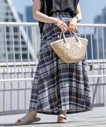 チェックロングフロントプリーツスカート#