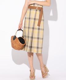 QUEENS COURT(クイーンズコート)のカラーチェックタイトスカート(スカート)