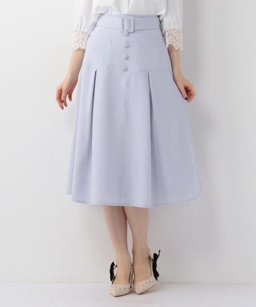 MISCH MASCH(ミッシュマッシュ)の「前ポケットフレアスカート(スカート)」 ライトブルー