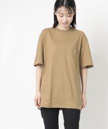 【 GOODWEAR / グッドウェア 】レギュラーフィット 半袖クルーネックポケットTシャツ ヘンプコットンカーキ