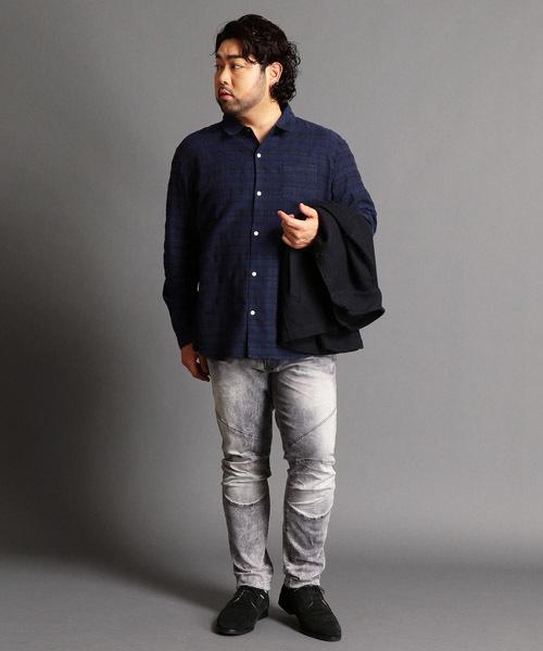【大きいサイズ】刺し子チェック柄シャツ