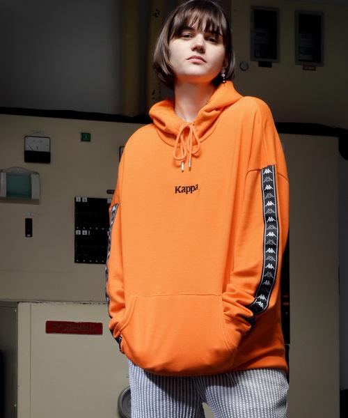 【Kappa/カッパ】別注ビッグシルエット 袖テープ プルオーバーパーカー