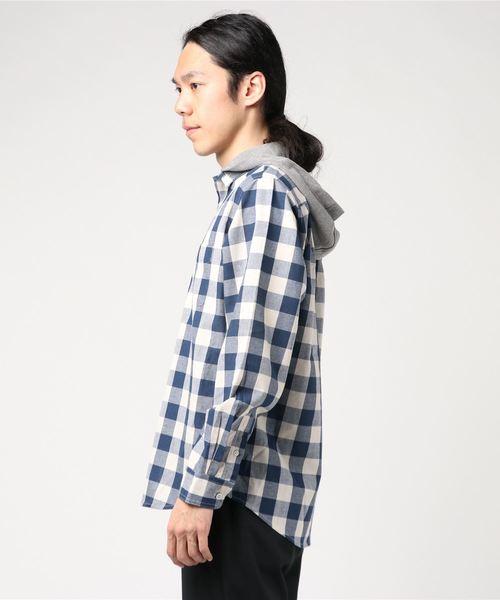 CERONIAS ブロードチェックフード付きシャツ