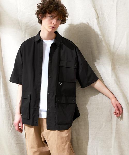 コットンナイロンストレッチ オーバーサイズ ルーズミリタリーシャツ EMMA CLOTHES 2021SUMMER
