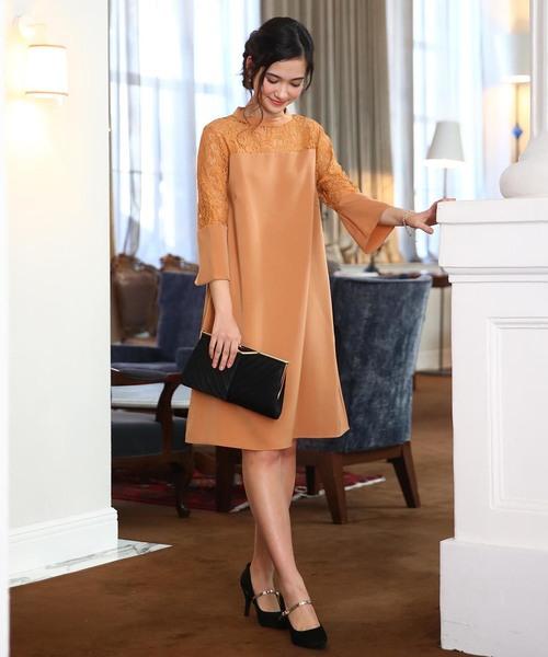 Luxe brille(リュクスブリエ)の「ハイカラー異素材切替デコルテレーススリーブ フレアーワンピース【DRESS】(ドレス)」|オレンジ系その他