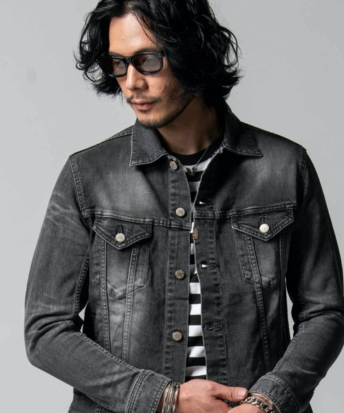 安い割引 BORN FREE BLACK STRETCH DENIM CALIFORNIA USED JACKET, レザークラフト優 プラス 72e6d545
