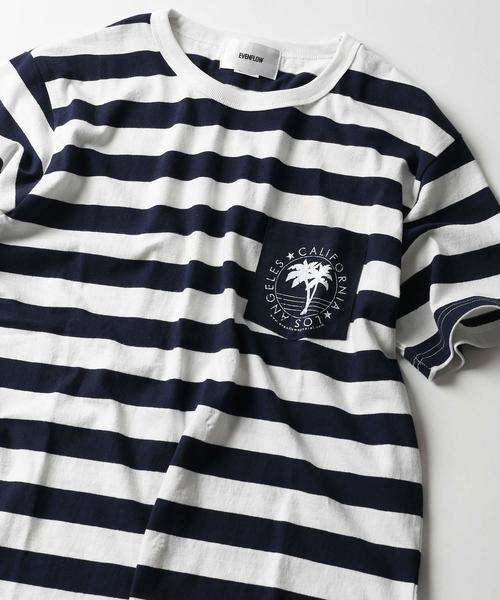 WEB限定 EVENFLOW/イーブンフロー FOTLxEF ボーダー ポケットTシャツ