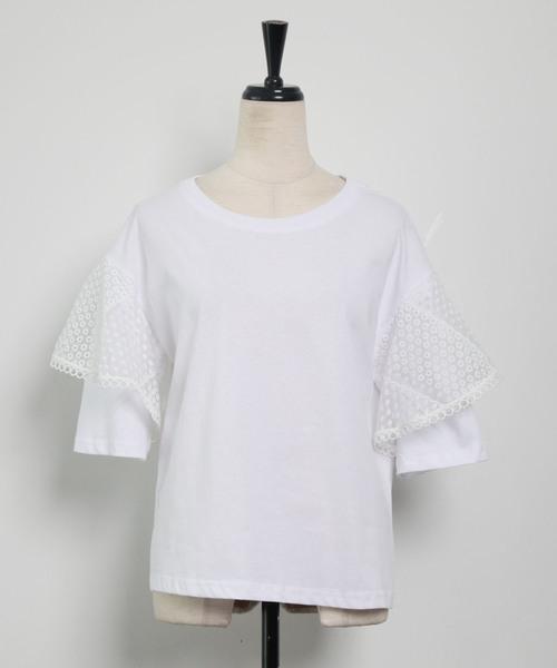 and R(アンドアール)の「レーススリーブTシャツ(Tシャツ/カットソー)」 詳細画像