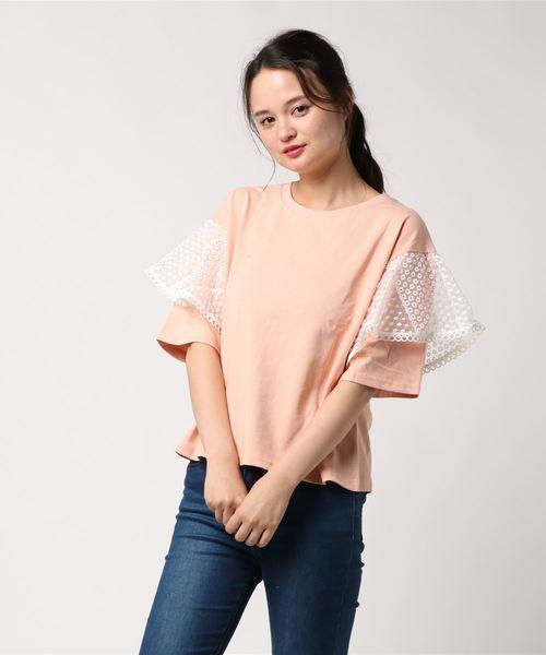 and R(アンドアール)の「レーススリーブTシャツ(Tシャツ/カットソー)」 ピンク