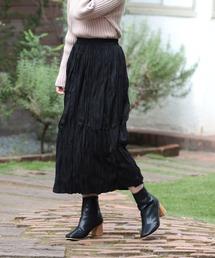 crinkle skirtブラック