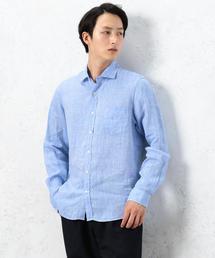 NM LINEN シャンブレー M/ワイドカラー シャツ