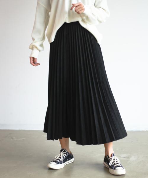 Auntie Rosa Holiday(アンティローザホリデー)の「【Holiday】スウェードプリーツスカート◆WEB限定◆(スカート)」|ブラック