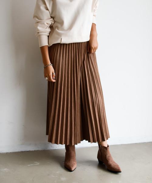 Auntie Rosa Holiday(アンティローザホリデー)の「【Holiday】スウェードプリーツスカート◆WEB限定◆(スカート)」|モカ