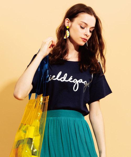 JETSET SOLO PLUS (ジェットセット ソロプラス)の「レタリング箔プリントTシャツ(Tシャツ/カットソー)」|ネイビー