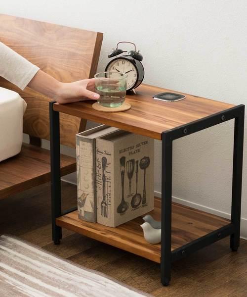 【Walka Eisen】黒脚とアカシアのサイドテーブル ワイヤレスチャージャー付き/QI充電