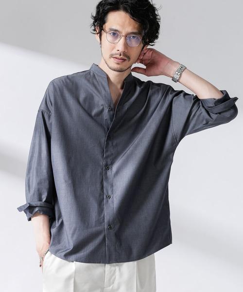 nano・universe(ナノユニバース)の「大人のワイドシャツ シャンブレーバンドカラー(シャツ/ブラウス)」 グレー
