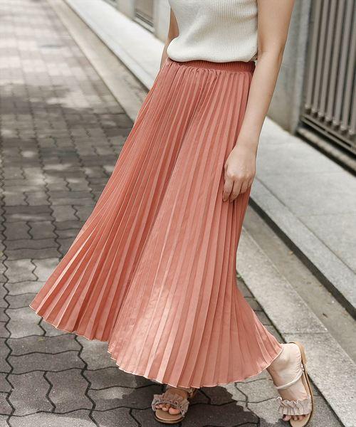 La-gemme(ラジエム)の「プリーツロングスカート(スカート)」 ピンク