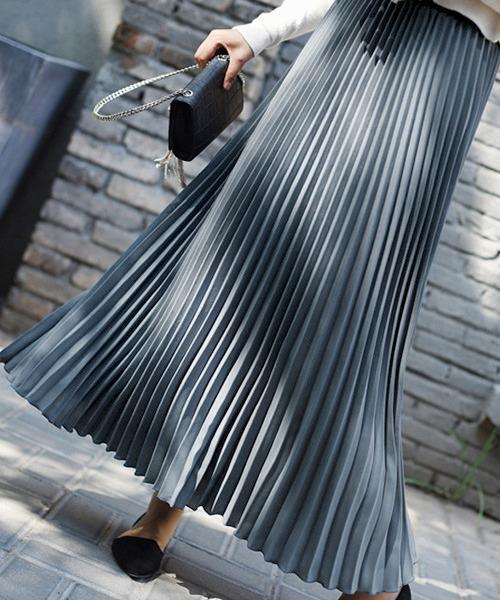 La-gemme(ラジエム)の「プリーツロングスカート(スカート)」|インディゴブルー
