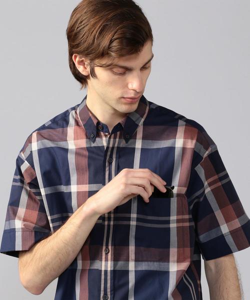 【WEB先行予約】ビッグチェックポプリン ボタンダウン半袖シャツ