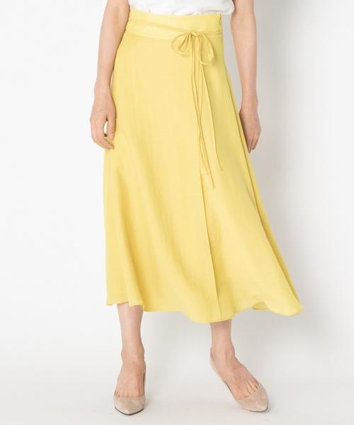 HELIOPOLE(エリオポール)の「スパンボイルワッシャー ラップデザインスカート(スカート)」|イエロー系その他