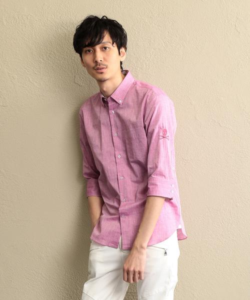 【LOVELESS】MEN コットンリネン7分袖シャツ