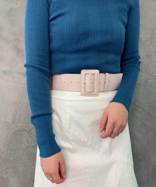 Emboss Wide Buckle Belt