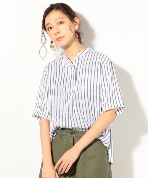 フレンチリネンバンドカラーシャツ
