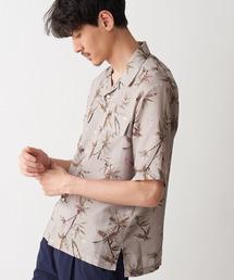 Discoat(ディスコート)のリネンライクヤシ柄プリントアロハシャツ(シャツ/ブラウス)