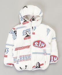 プリマロフトナイロンタフタワッペン付きフーデットジャケット【S/M】ホワイト系その他