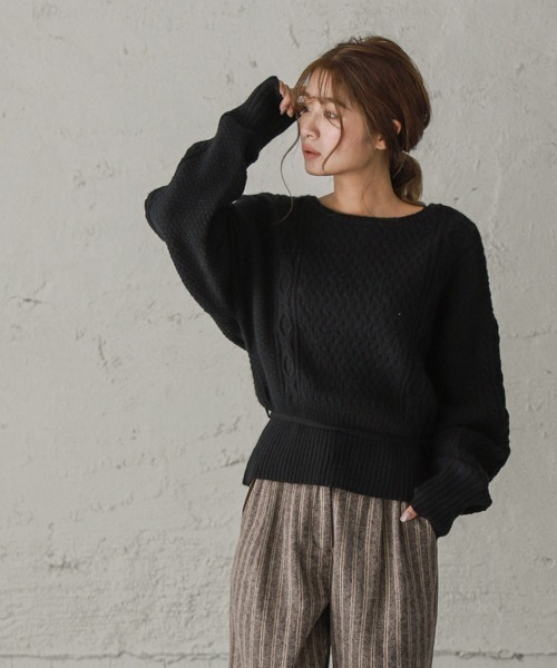 La-gemme(ラジエム)の「アラン編みカシュクールニット(ニット/セーター)」|ブラック