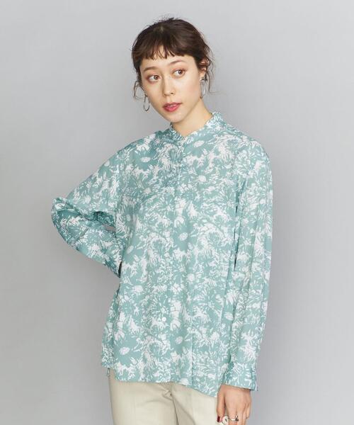 BY フラワープリントバンドカラーシャツ
