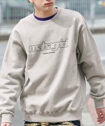 MAHAGRID/マハグリッド  MARU LOGO/OVAL LOGO SWEAT SHIRT ロゴデザイン オーバーサイズプルオーバースウェット [韓国ストリートブランド]グレー