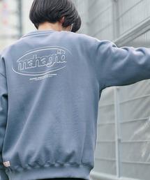 MAHAGRID/マハグリッド  MARU LOGO/OVAL LOGO SWEAT SHIRT ロゴデザイン オーバーサイズプルオーバースウェット [韓国ストリートブランド]ブルー