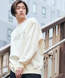 MAHAGRID/マハグリッド  MARU LOGO/OVAL LOGO SWEAT SHIRT ロゴデザイン オーバーサイズプルオーバースウェット [韓国ストリートブランド]アイボリー
