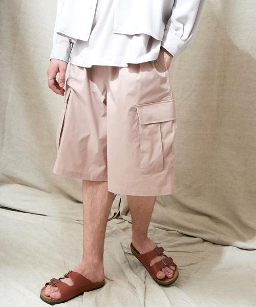 コットンナイロンストレッチ ワイドシルエットカーゴショーツ EMMA CLOTHES 2021SUMMER