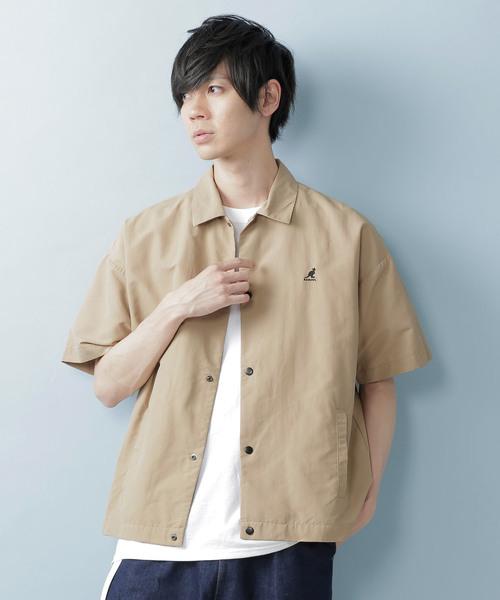 KANGOL/カンゴール 別注 オーバーサイズ コーチシャツジャケット (1/2 sleeve)