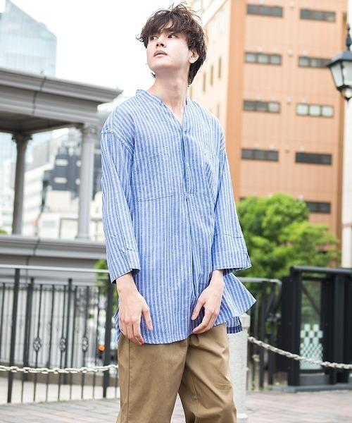 UP START(アップスタート)の「コットンリネンクルタシャツ7分袖(シャツ/ブラウス)」|ブルー系その他