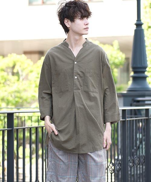 UP START(アップスタート)の「コットンリネンクルタシャツ7分袖(シャツ/ブラウス)」 カーキ