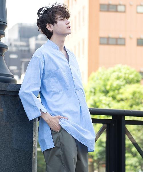 UP START(アップスタート)の「コットンリネンクルタシャツ7分袖(シャツ/ブラウス)」|サックスブルー